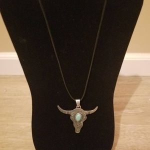 Boho Chic- Turquoise and Bull Pendant Necklace